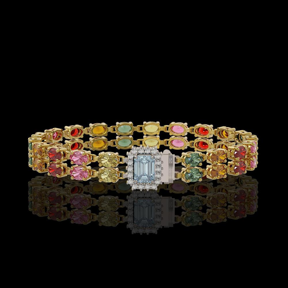 19.34 ctw Sapphire & Diamond Bracelet 14K Yellow Gold - REF-237A5V - SKU:45757
