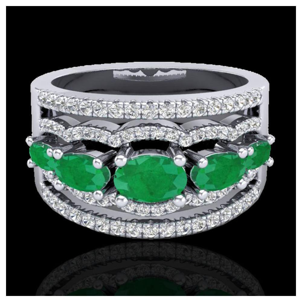 2.25 ctw Emerald & VS/SI Diamond Ring 10K White Gold - REF-80X2R - SKU:20800
