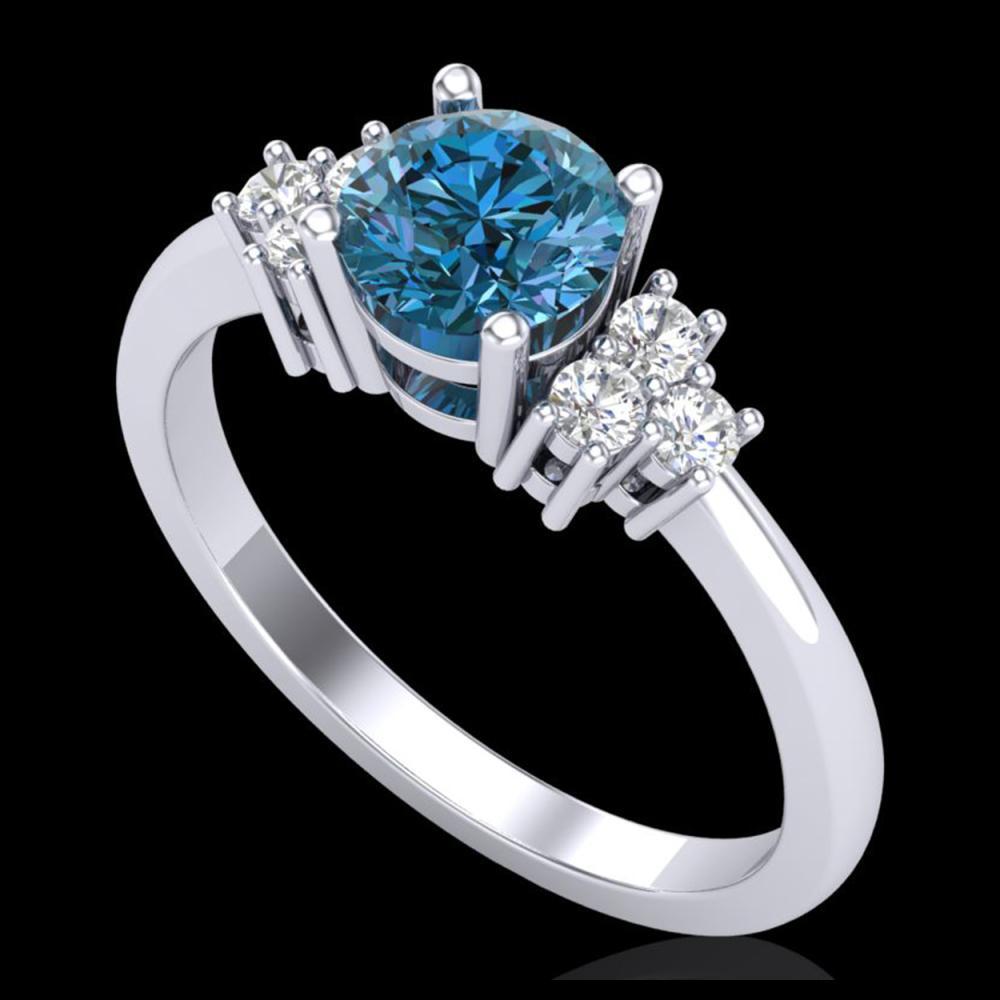1 ctw Fancy Intense Blue Diamond Ring 18K White Gold - REF-145R5K - SKU:37593