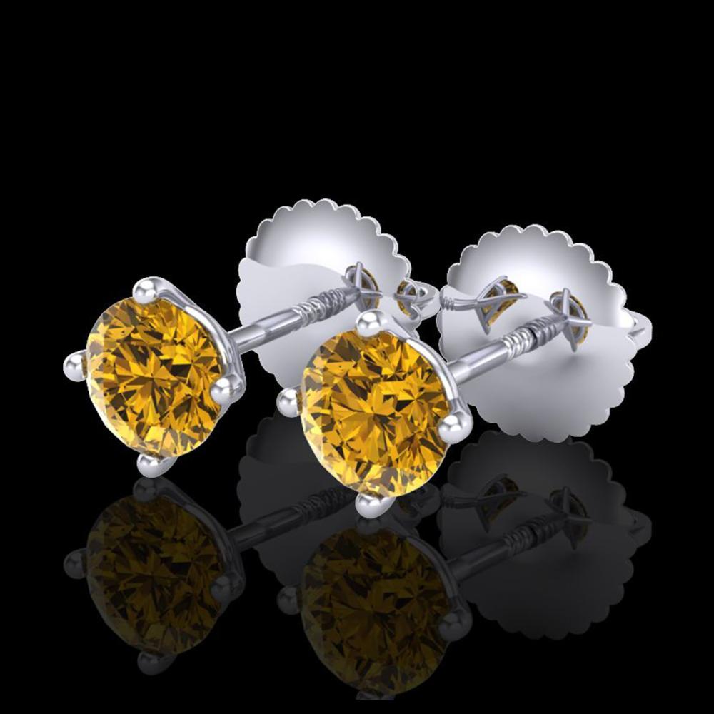 0.65 ctw Intense Fancy Yellow Diamond Art Deco Earrings 18K White Gold - REF-81N8A - SKU:38225