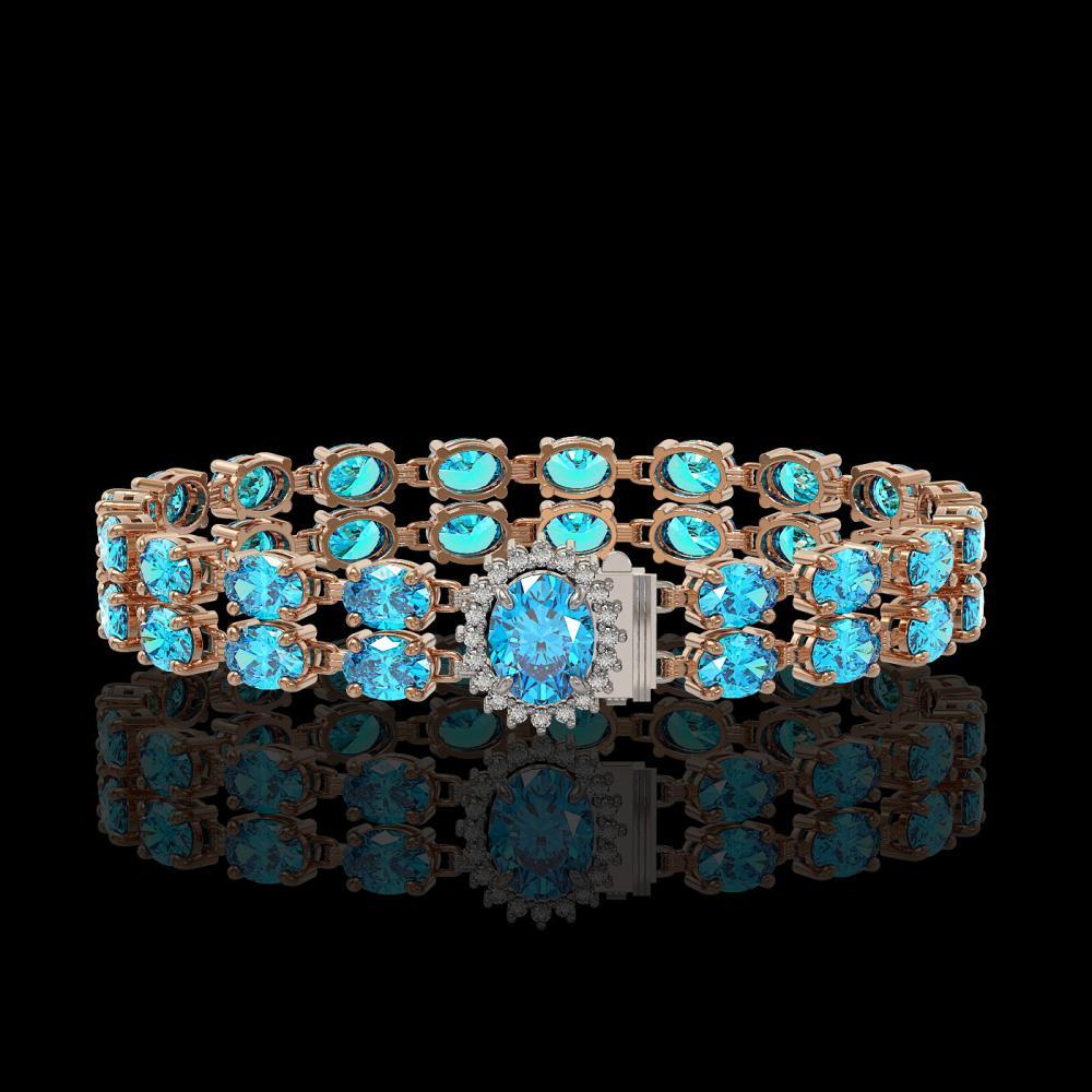 29.22 ctw Swiss Topaz & Diamond Bracelet 14K Rose Gold - REF-145A3V - SKU:45513