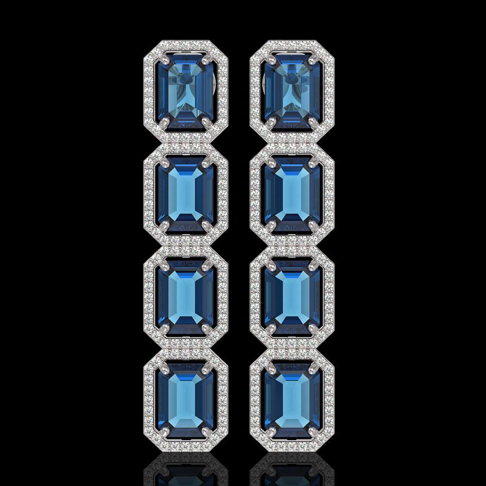 18.99 ctw London Topaz & Diamond Halo Earrings 10K White Gold - REF-184H4M - SKU:41606