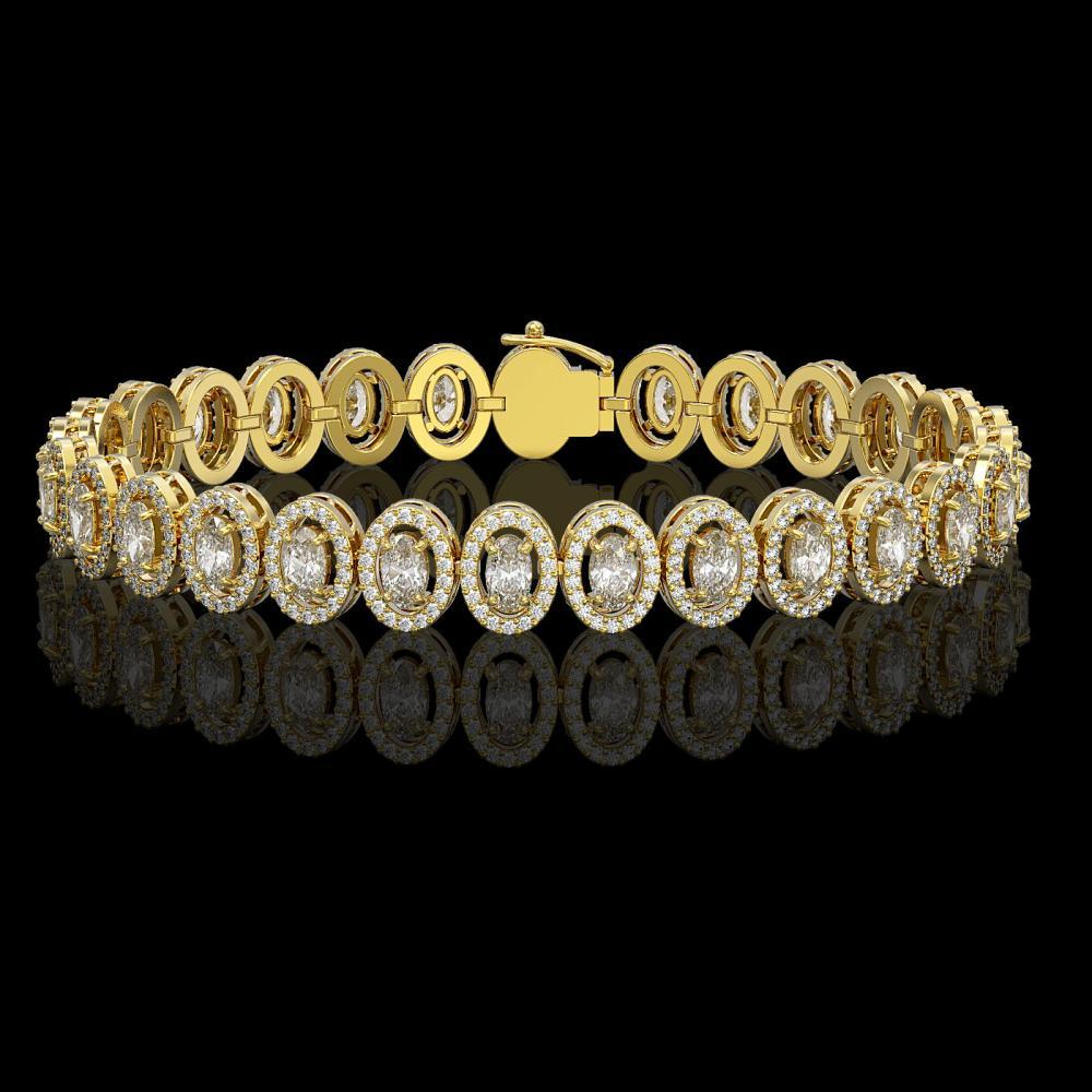 10.36 ctw Oval Diamond Bracelet 18K Yellow Gold - REF-898M6F - SKU:42943