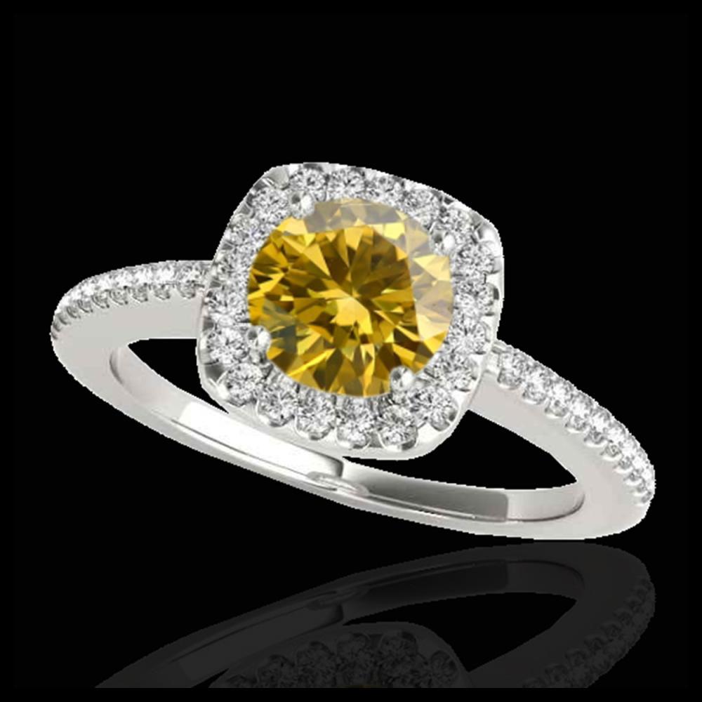 1.25 ctw SI/I Fancy Intense Yellow Diamond Ring 10K White Gold - REF-190M9F - SKU:33830
