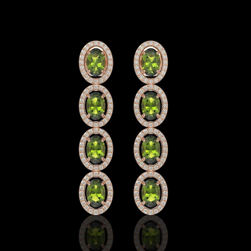 5.88 ctw Tourmaline & Diamond Halo Earrings 10K Rose Gold - REF-125R5K - SKU:40524