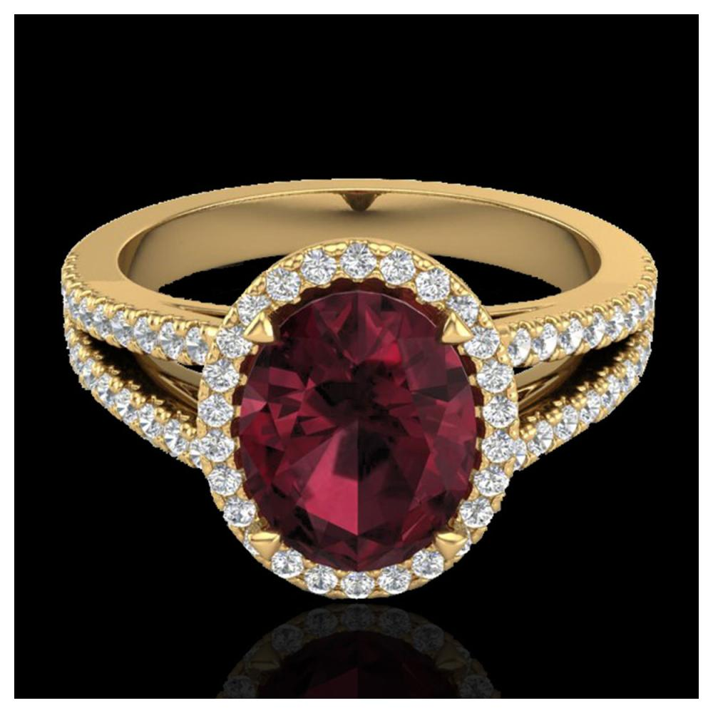 3 ctw Garnet & VS/SI Diamond Halo Ring 18K Yellow Gold - REF-67Y3X - SKU:20942