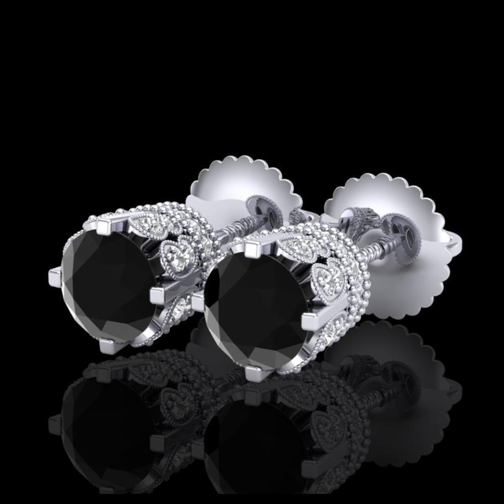 1.75 ctw Fancy Black Diamond Art Deco Stud Earrings 18K White Gold - REF-109M3F - SKU:37352