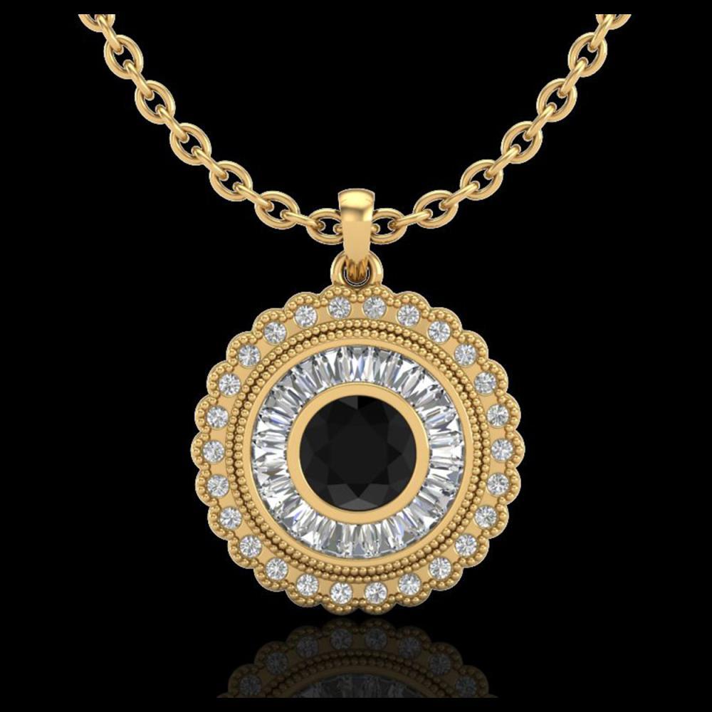 2.11 ctw Fancy Black Diamond Art Deco Stud Necklace 18K Yellow Gold - REF-180A2V - SKU:37914