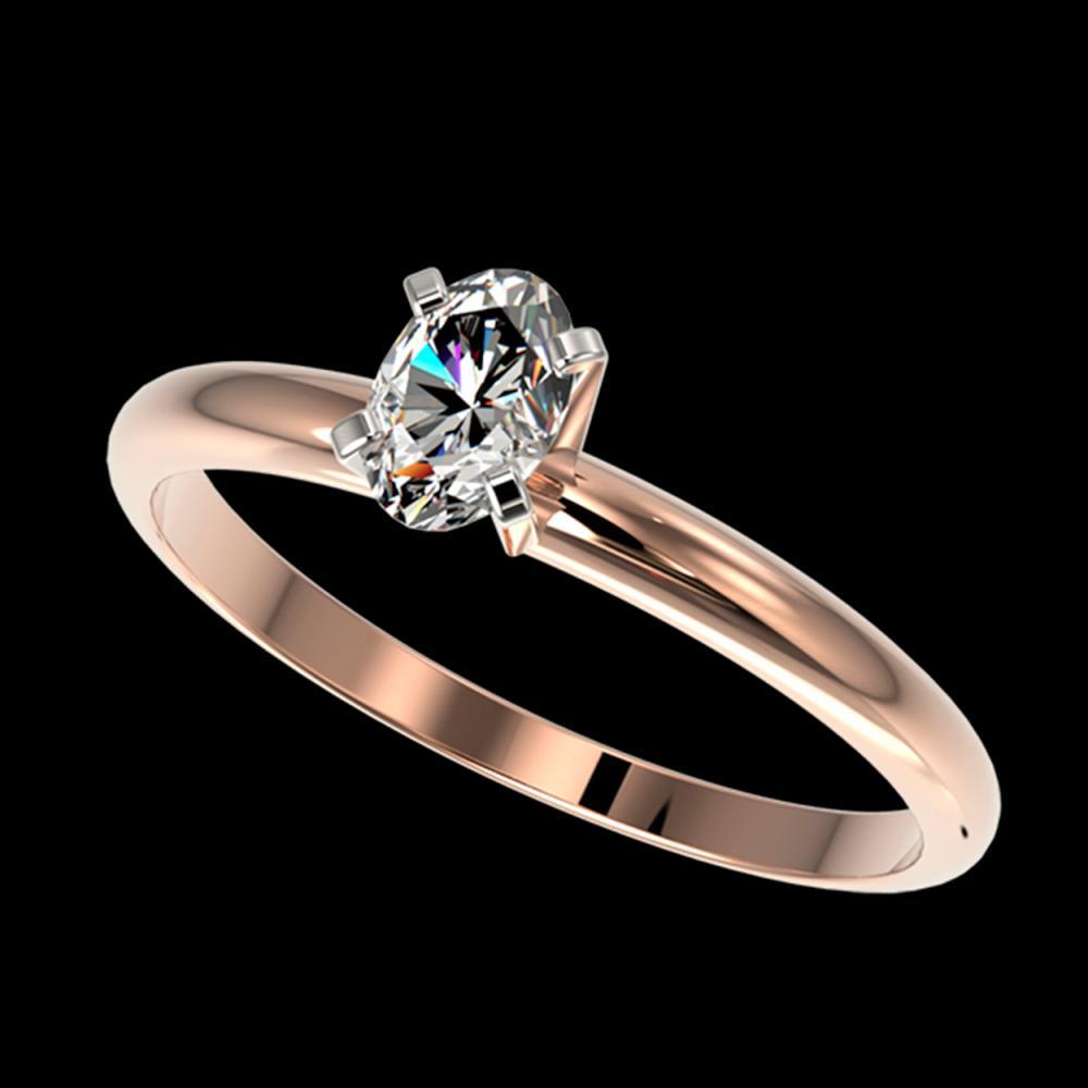 0.50 ctw VS/SI Oval Diamond Ring 10K Rose Gold - REF-73M5F - SKU:32866