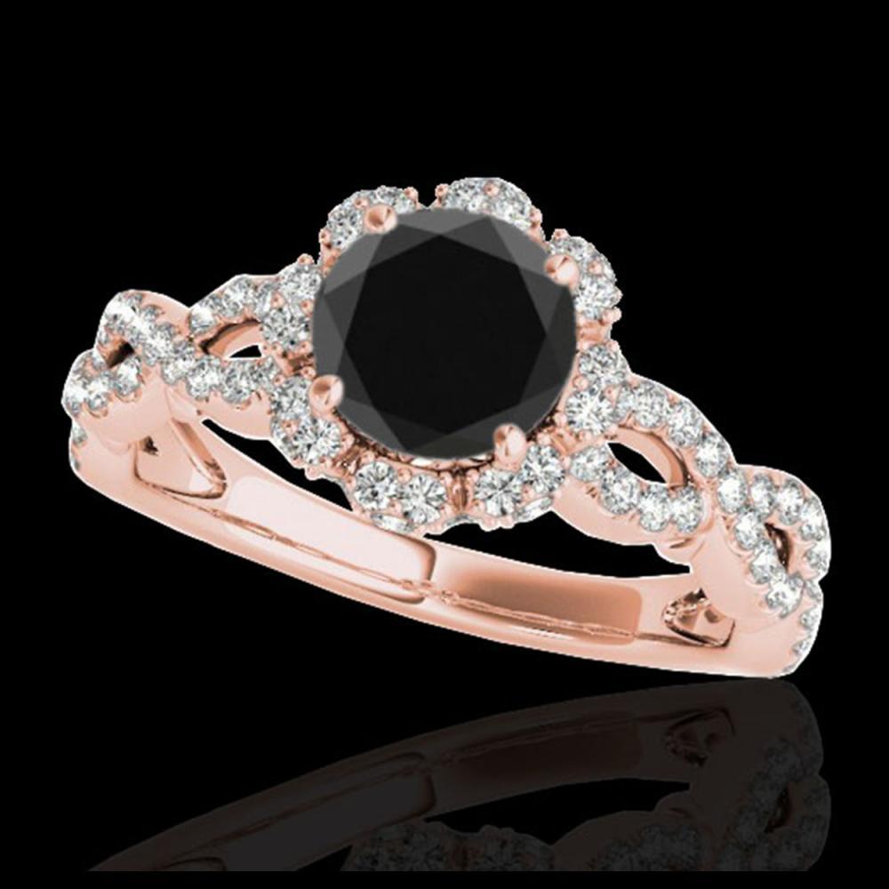 1.69 ctw VS Black Diamond Solitaire Halo Ring 10K Rose Gold - REF-66H8M - SKU:34109