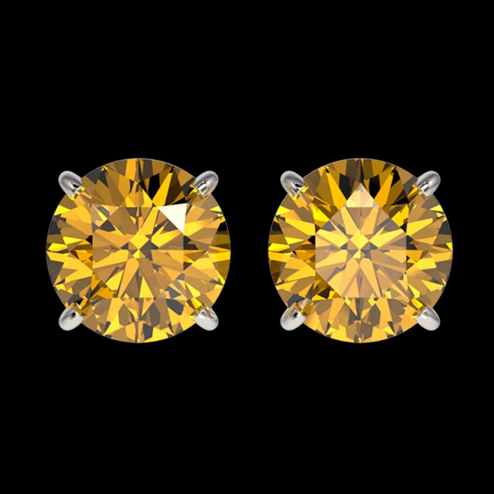 2.04 ctw Intense Yellow Diamond Stud Earrings 10K White Gold - REF-360W2H - SKU:36668