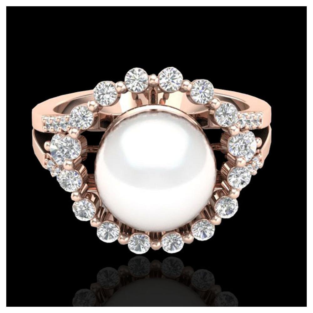 0.83 Ct VS/SI Diamond & Pearl Ring 14K Rose Gold - REF-71F6N - SKU:20705