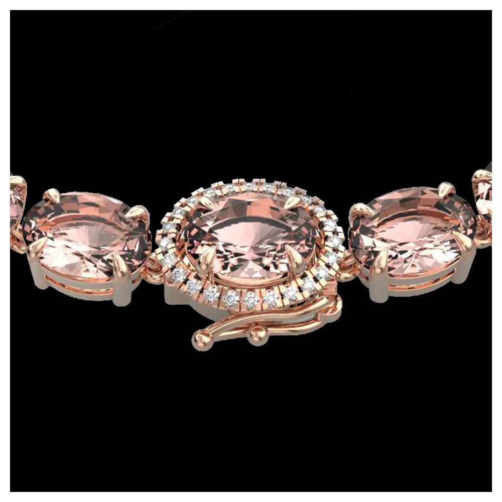 64 ctw Morganite & VS/SI Diamond Necklace 14K Rose Gold - REF-637N3A - SKU:23469