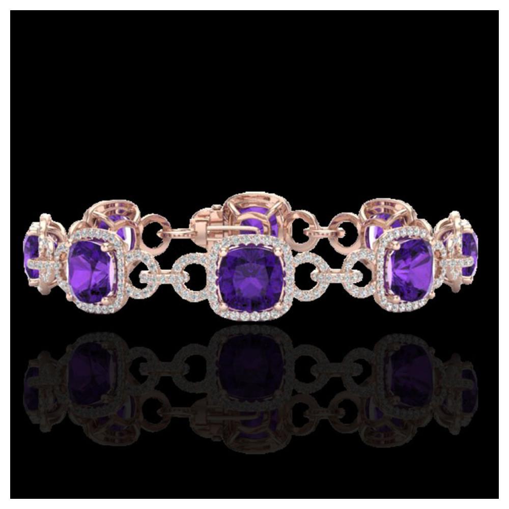 30 ctw Amethyst & VS/SI Diamond Bracelet 14K Rose Gold - REF-368A9V - SKU:23016