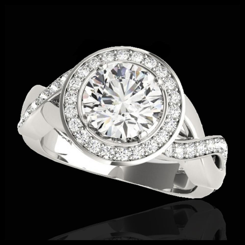 1.75 ctw H-SI/I Diamond Solitaire Halo Ring 10K White Gold - REF-148M4F - SKU:33267