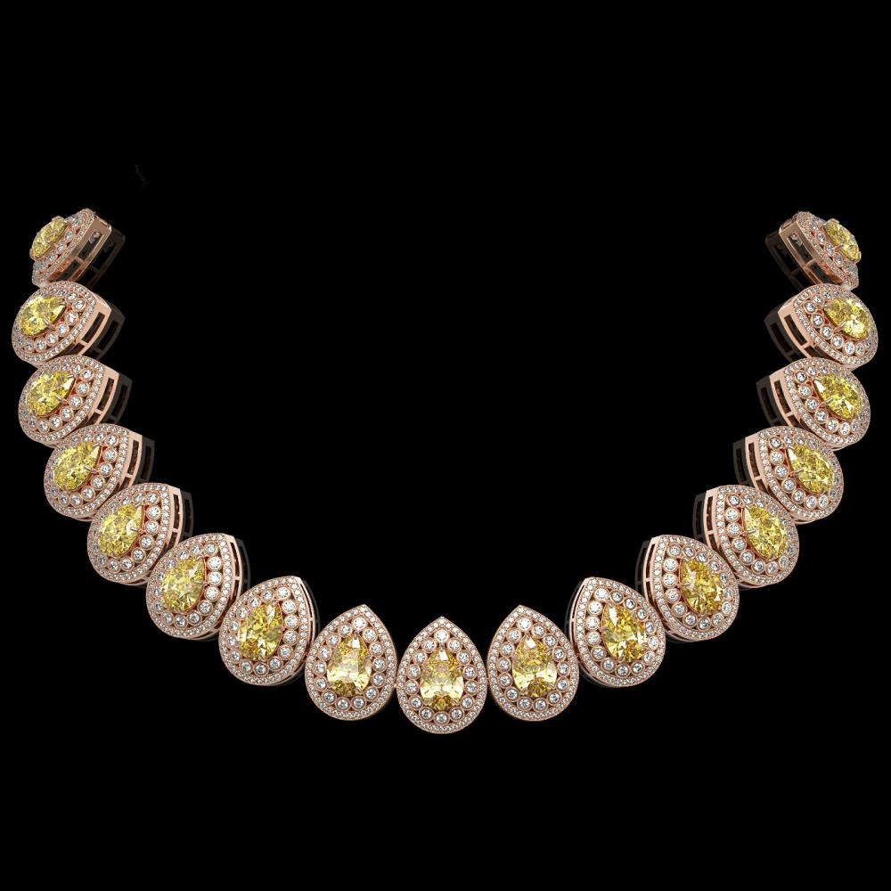 103.62 ctw Canary Citrine & Diamond Necklace 14K Rose Gold - REF-3002H4M - SKU:43242