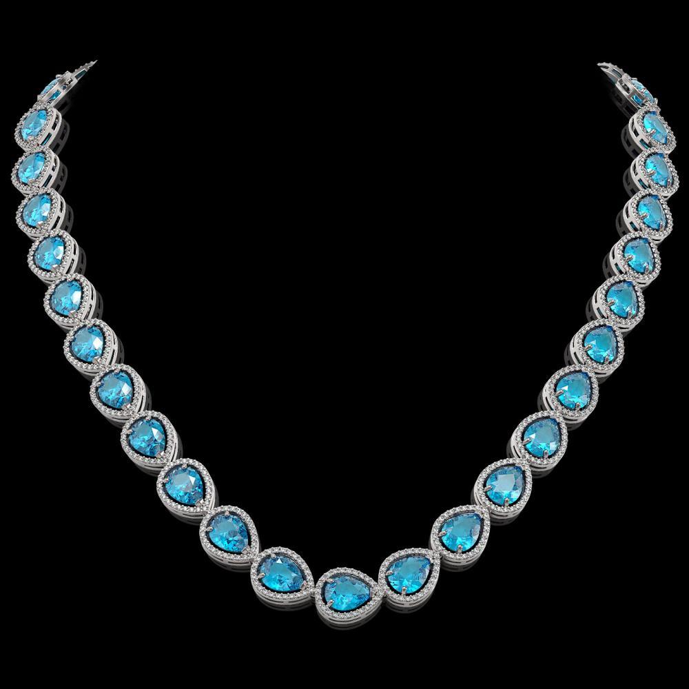 43.2 ctw Swiss Topaz & Diamond Halo Necklace 10K White Gold - REF-609R8K - SKU:41219