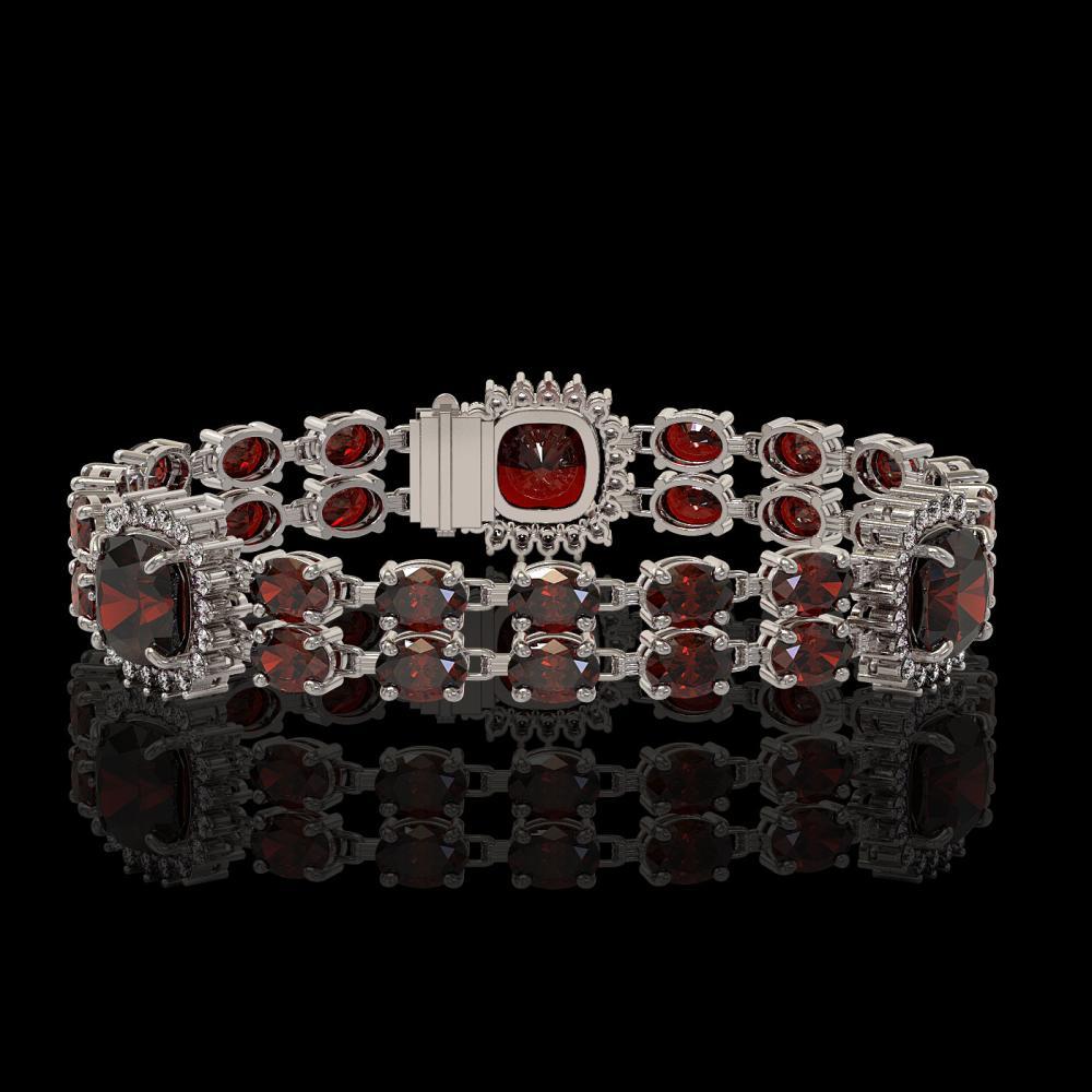 17.34 ctw Garnet & Diamond Bracelet 14K White Gold - REF-235A3V - SKU:44783