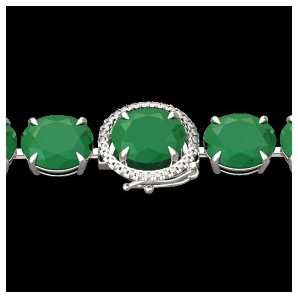 76 ctw Emerald & VS/SI Diamond Bracelet 14K White Gold - REF-461F5N - SKU:22257