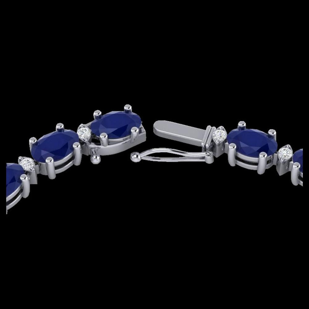 55.5.0 ctw Sapphire & VS/SI Diamond Eternity Necklace 10K White Gold - REF-292K2W - SKU:29433