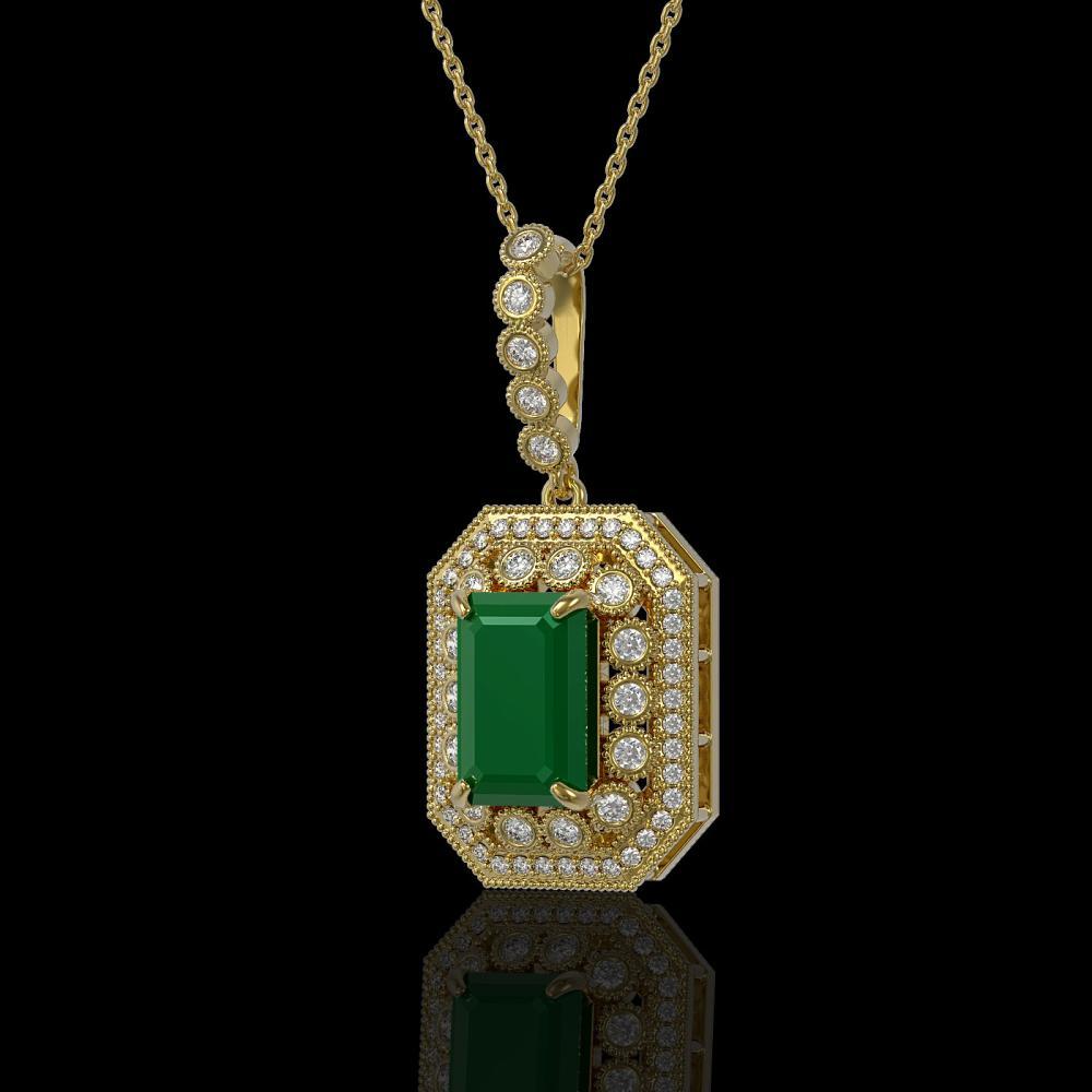 7.18 ctw Emerald & Diamond Necklace 14K Yellow Gold - REF-159H3M - SKU:43438