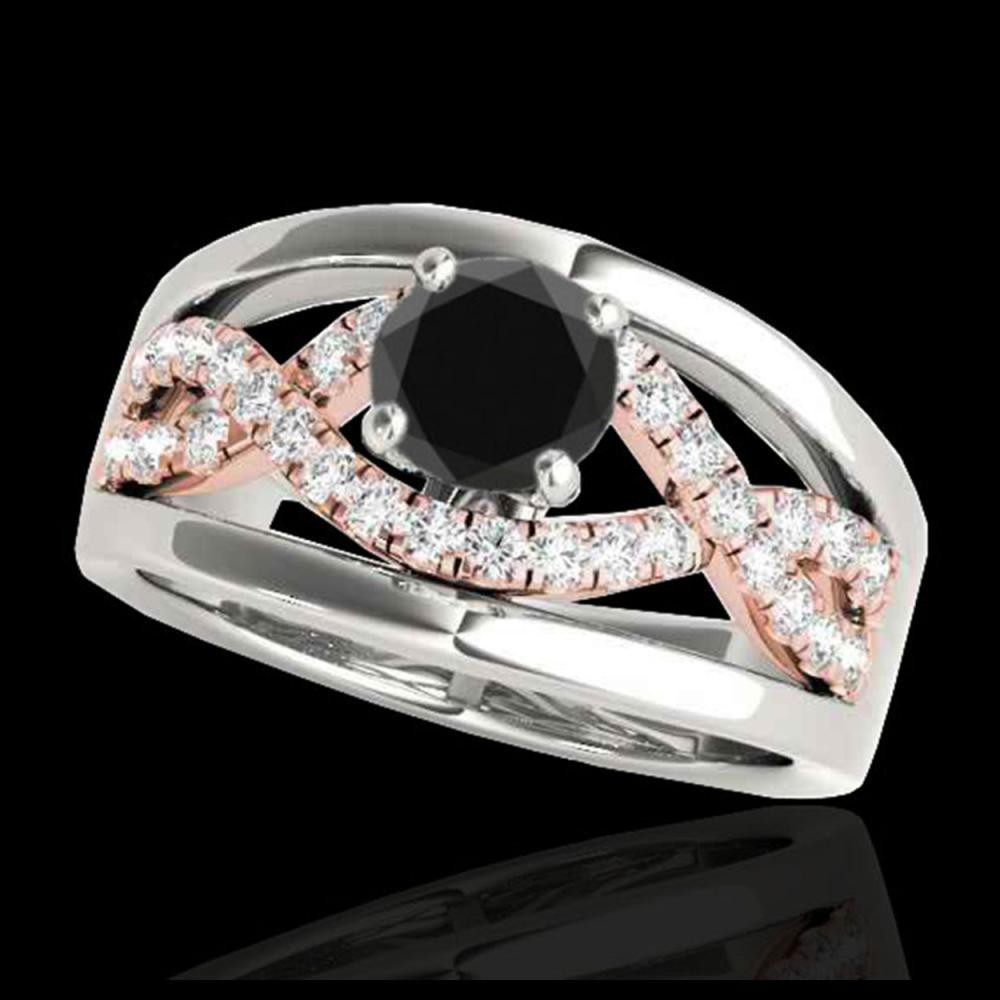 1.30 ctw VS Black Diamond Solitaire Ring 10K White & Rose Gold - REF-57K8W - SKU:35290