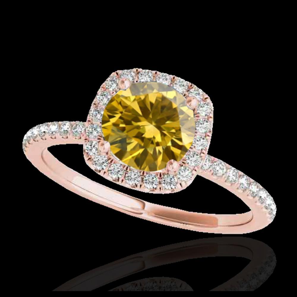 1.25 ctw SI/I Fancy Intense Yellow Diamond Ring 10K Rose Gold - REF-163A6V - SKU:33333