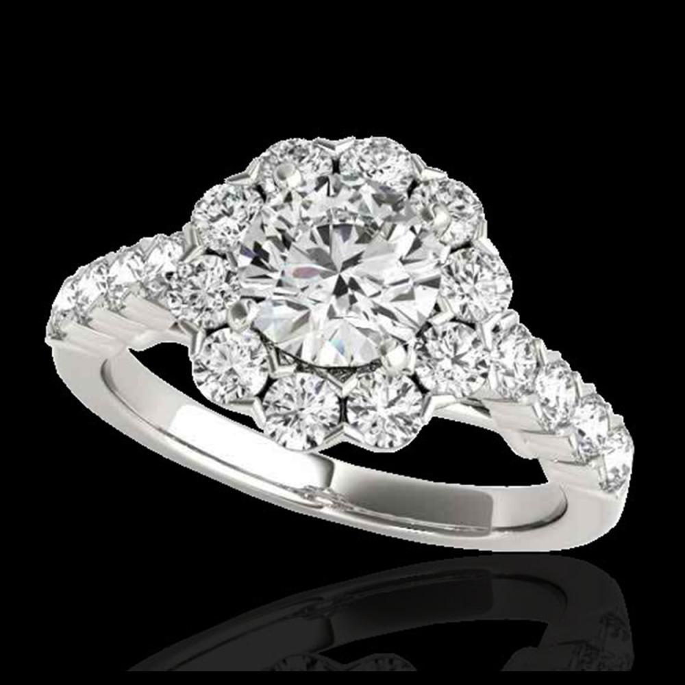 3 ctw H-SI/I Diamond Solitaire Halo Ring 10K White Gold - REF-308V2Y - SKU:33553