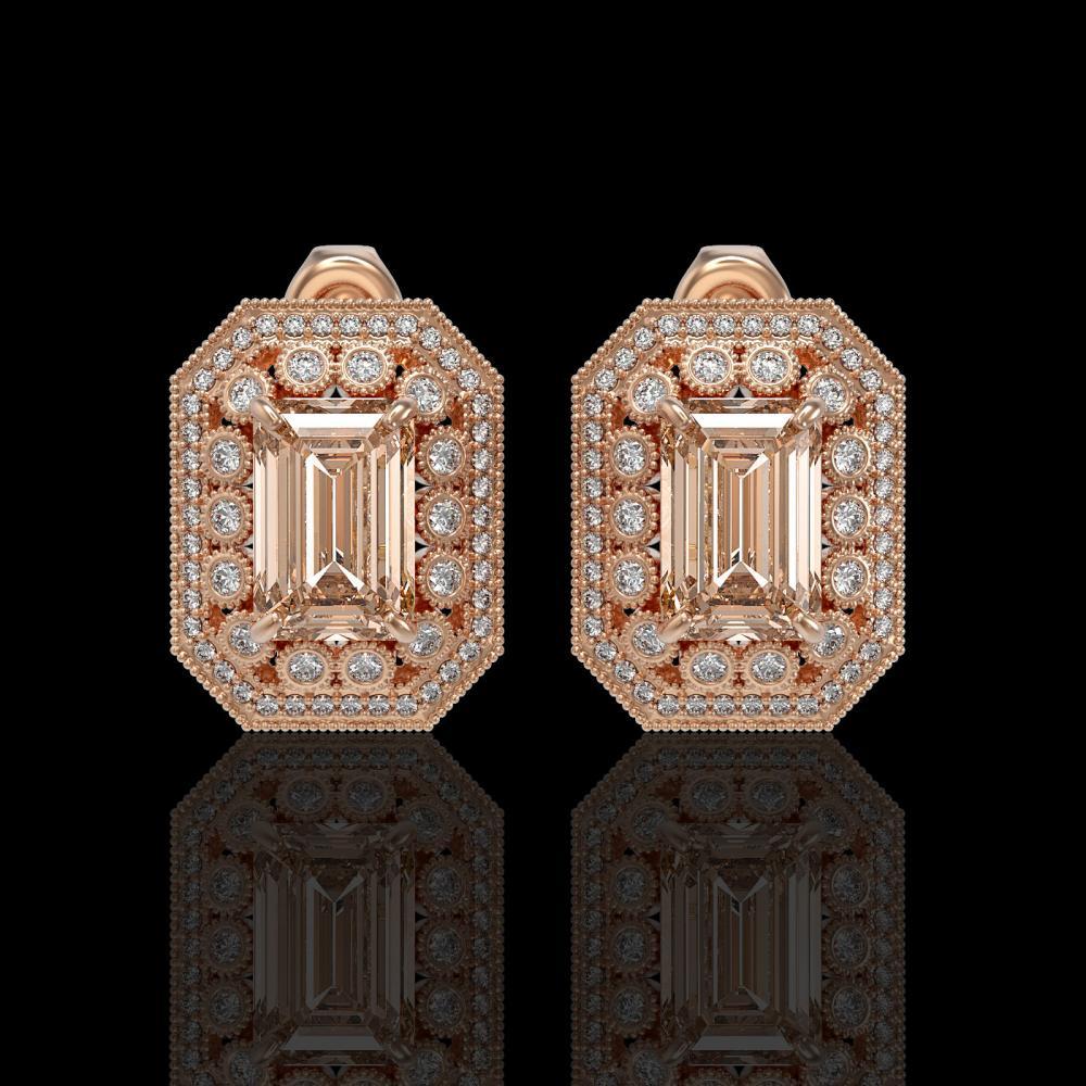 11.69 ctw Morganite & Diamond Earrings 14K Rose Gold - REF-381R5K - SKU:43434