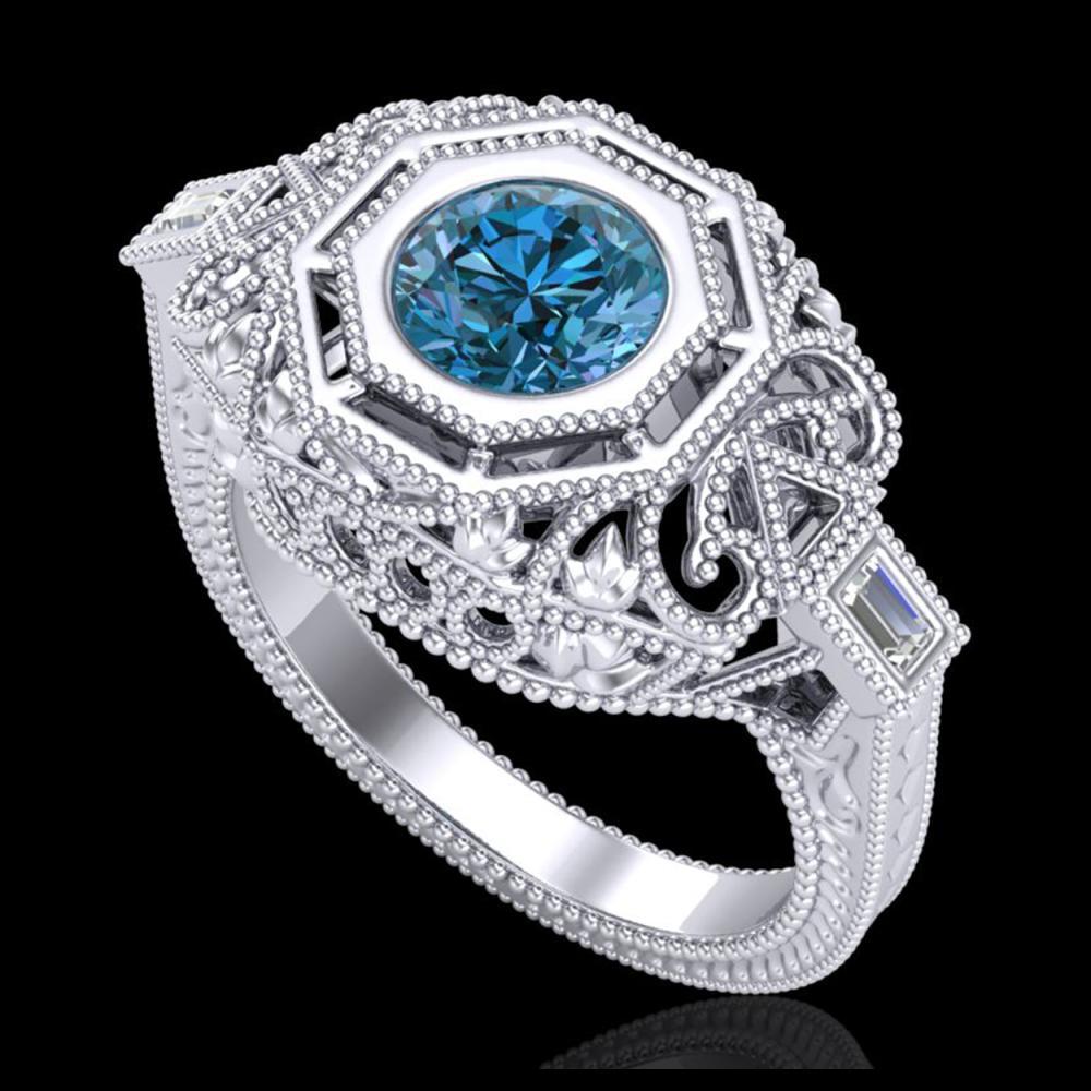 1.13 ctw Fancy Intense Blue Diamond Art Deco Ring 18K White Gold - REF-240R2K - SKU:37824
