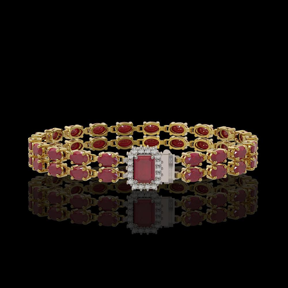 19.07 ctw Ruby & Diamond Bracelet 14K Yellow Gold - REF-206R7K - SKU:45712