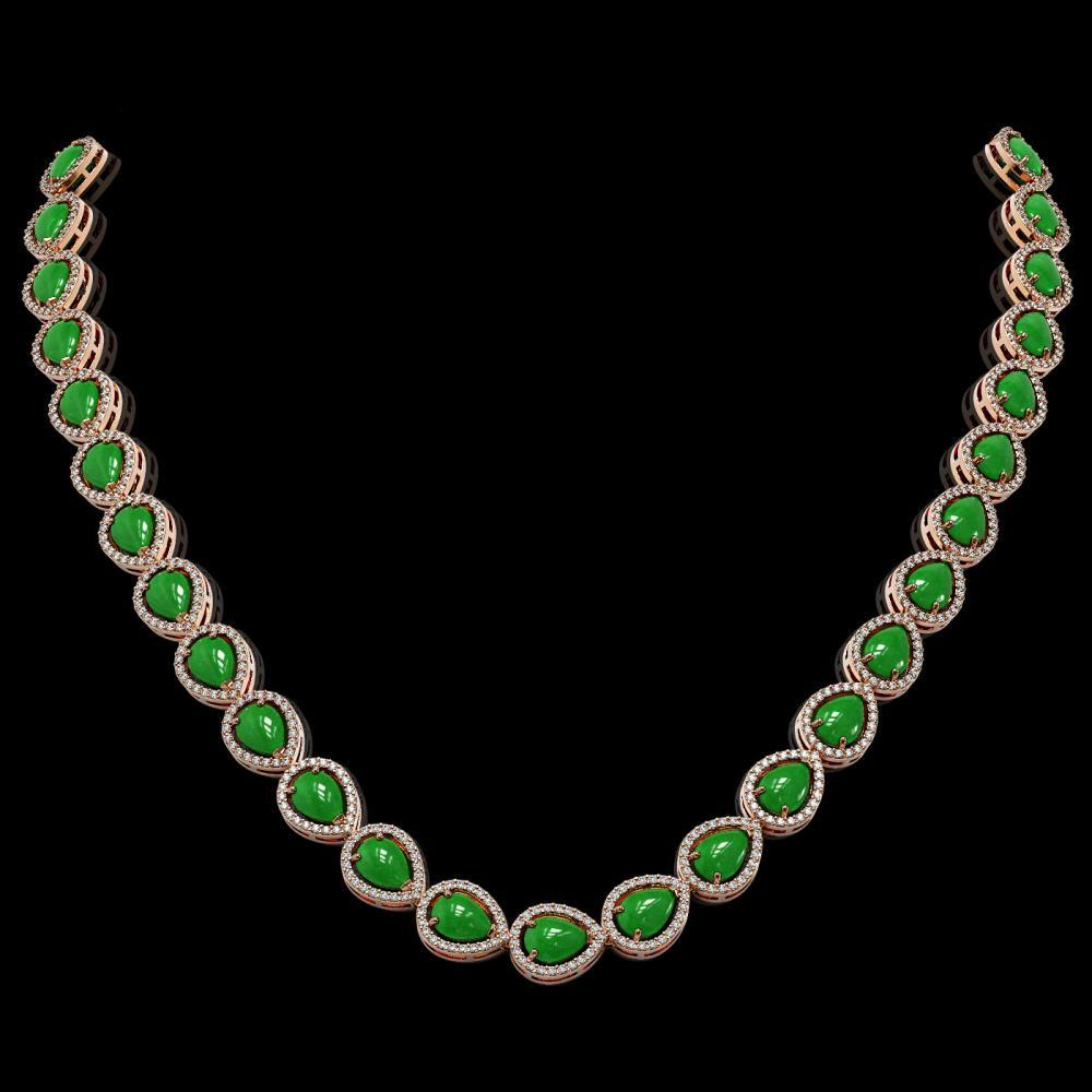 29.73 ctw Jade & Diamond Halo Necklace 10K Yellow Gold - REF-588R5K - SKU:45244