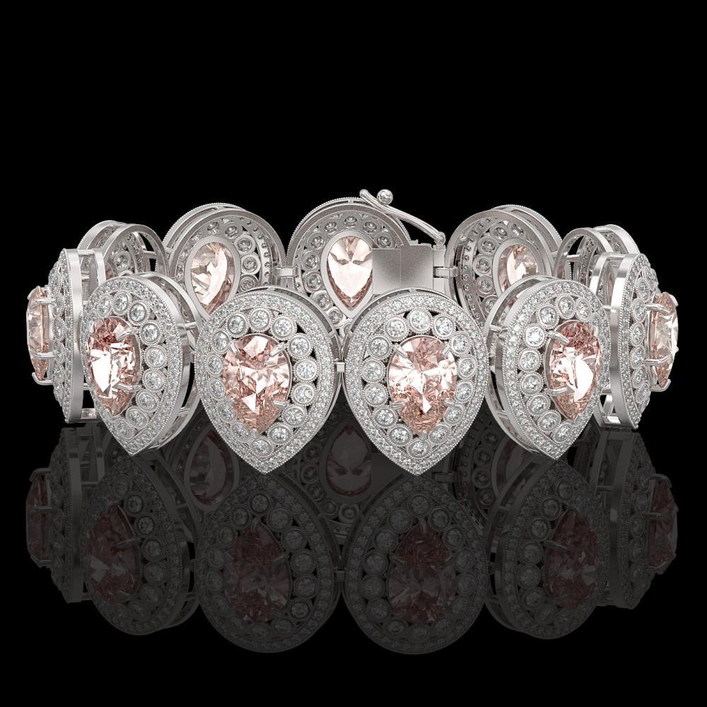 47.64 ctw Morganite & Diamond Bracelet 14K White Gold - REF-2044W4H - SKU:43277