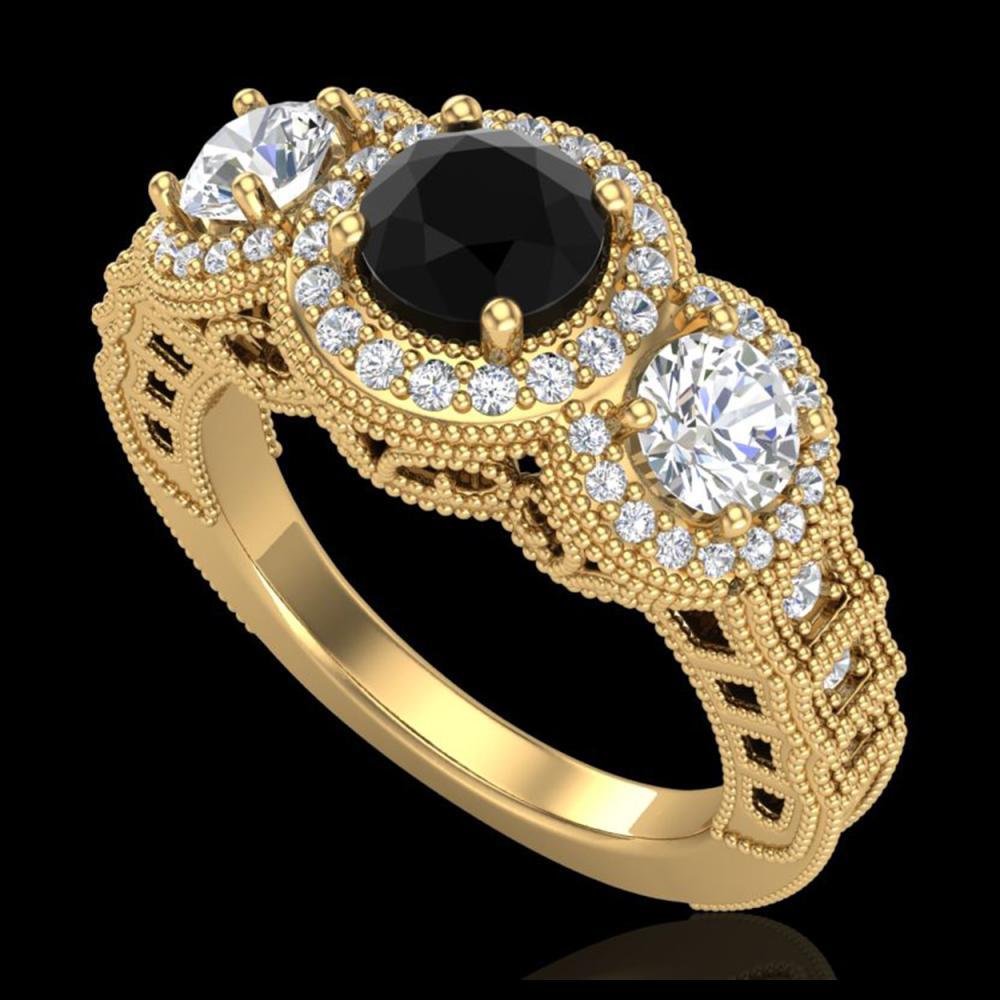 2.16 ctw Fancy Black Diamond Art Deco 3 Stone Ring 18K Yellow Gold - REF-254R5K - SKU:37669