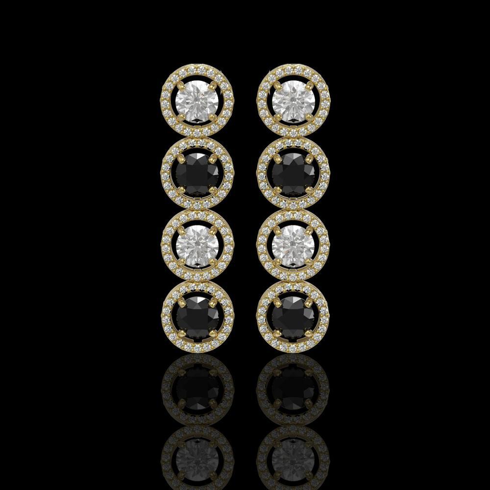 5.58 ctw Black & Diamond Earrings 18K Yellow Gold - REF-436W2H - SKU:42613
