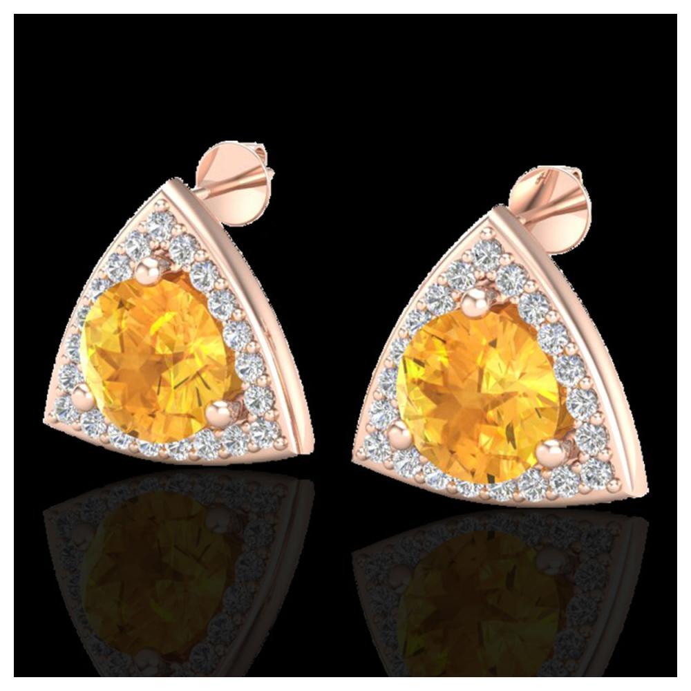3 ctw Citrine & VS/SI Diamond Stud Earrings 14K Rose Gold - REF-54N5A - SKU:20184