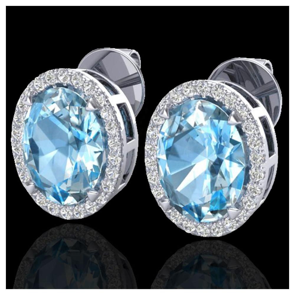 5.50 ctw Sky Blue Topaz & VS/SI Diamond Earrings 18K White Gold - REF-63V3Y - SKU:20243