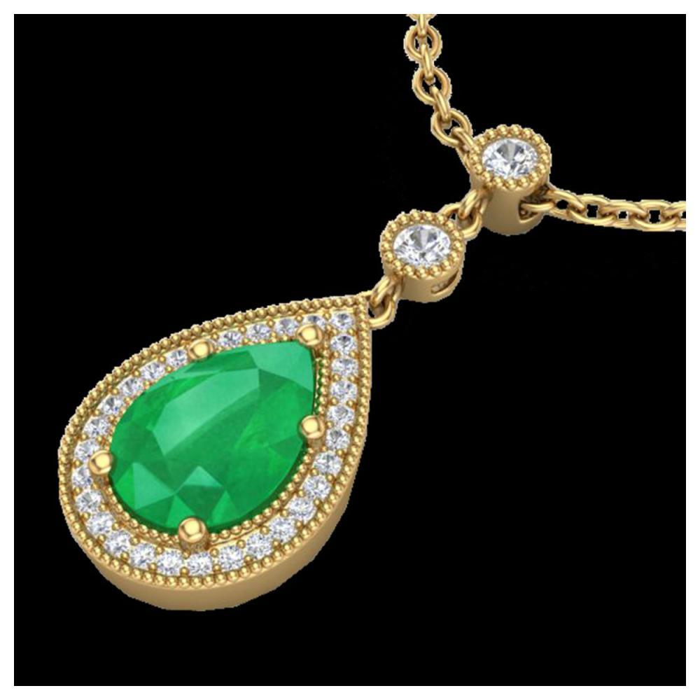 2.75 ctw Emerald & VS/SI Diamond Necklace 18K Yellow Gold - REF-57X3R - SKU:23134