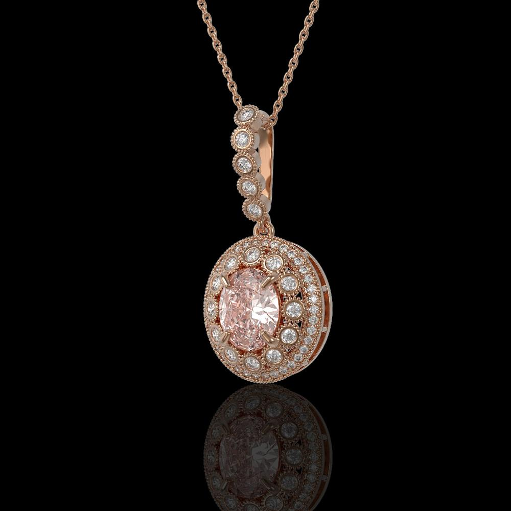 3.92 ctw Morganite & Diamond Necklace 14K Rose Gold - REF-167W5H - SKU:43680