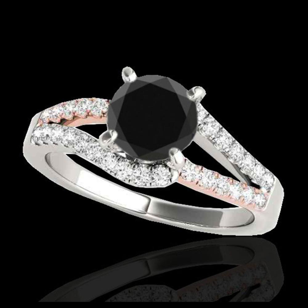 1.65 ctw VS Black Diamond Solitaire Ring 10K White & Rose Gold - REF-56R3K - SKU:35302
