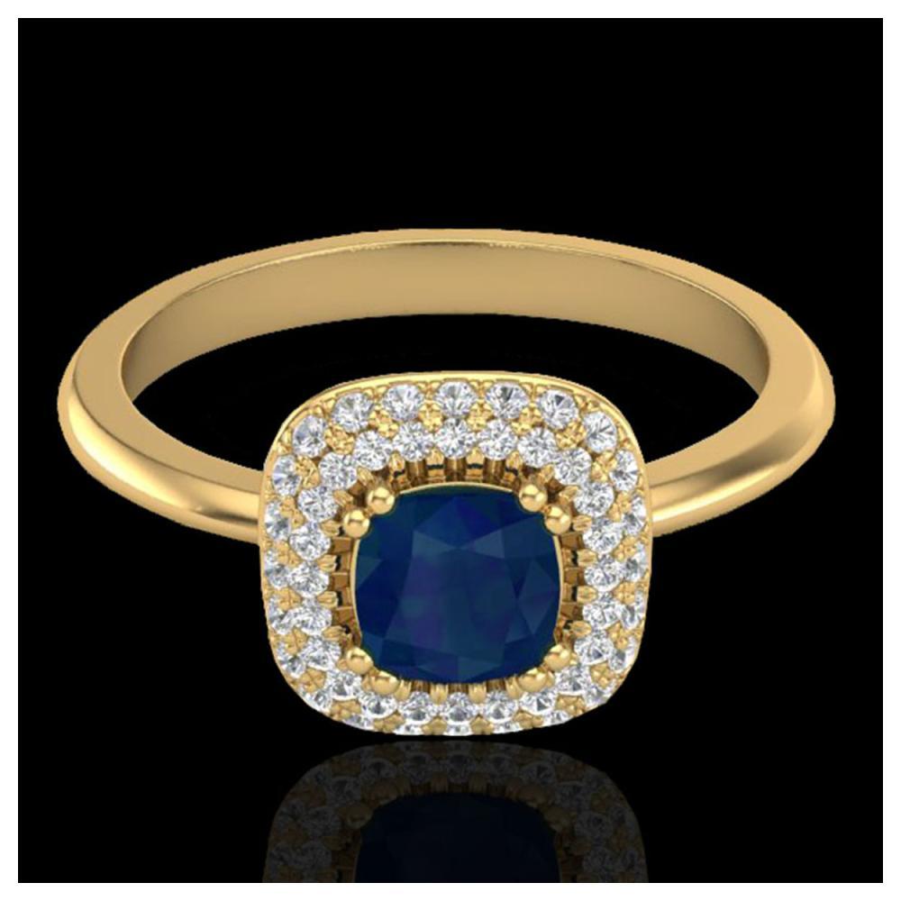 1.16 ctw Sapphire & VS/SI Diamond Ring Halo 18K Yellow Gold - REF-71M6F - SKU:21036