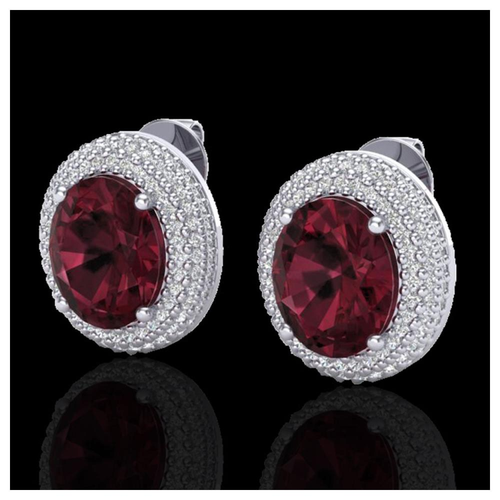 9 ctw Garnet & VS/SI Diamond Earrings 18K White Gold - REF-153K5W - SKU:20226