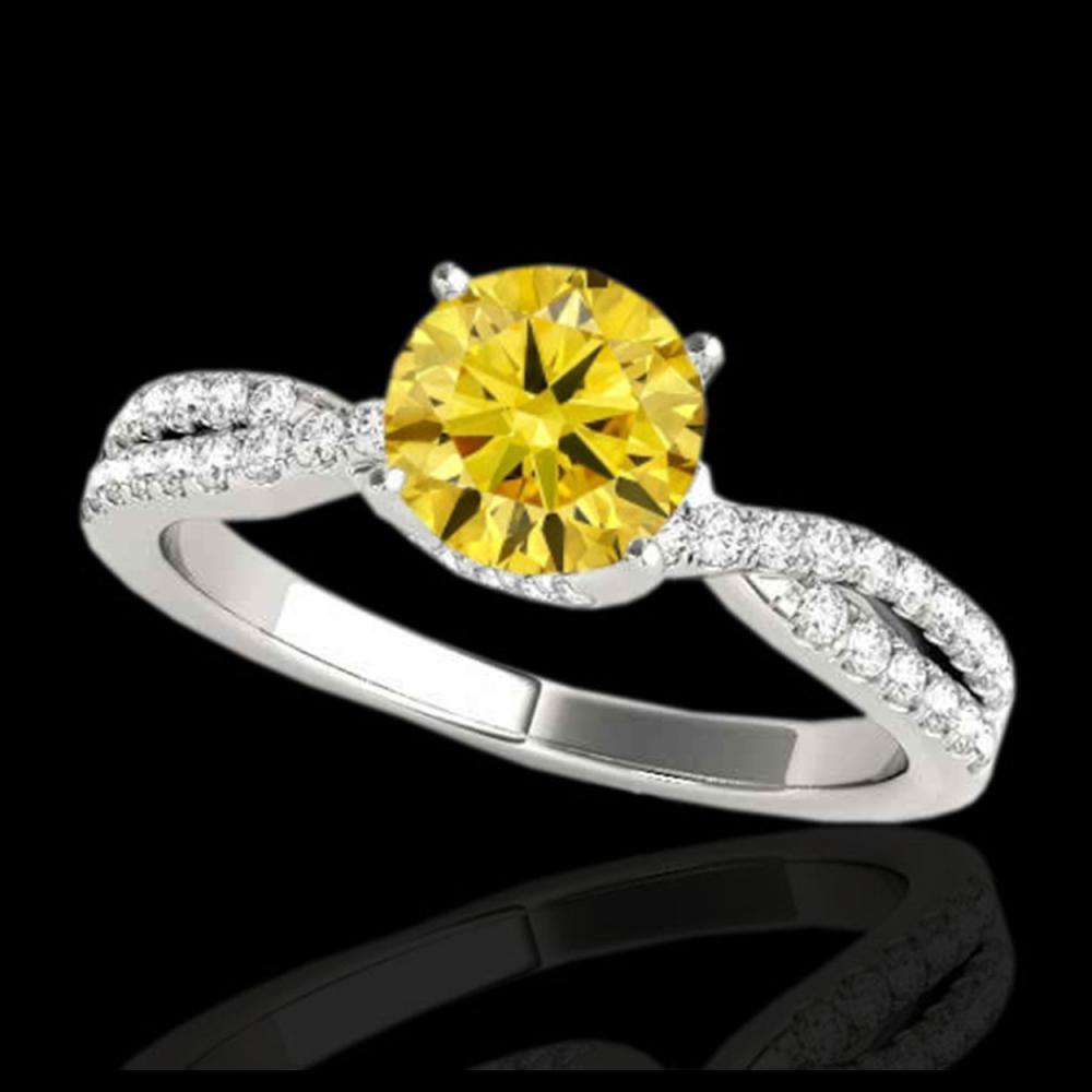 1.30 ctw SI/I Fancy Intense Yellow Diamond Ring 10K White Gold - REF-130W9H - SKU:35280