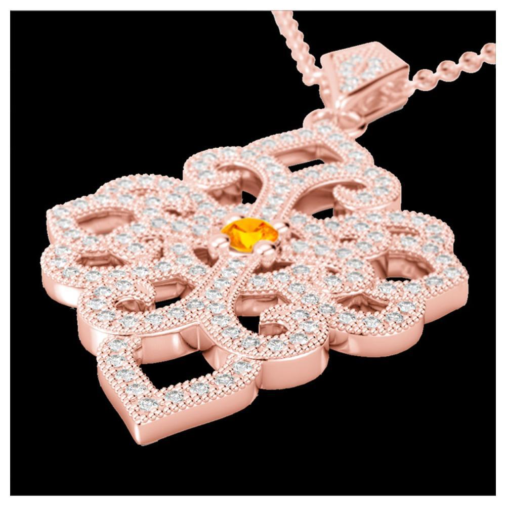 1.40 ctw Citrine & VS/SI Diamond Necklace 14K Rose Gold - REF-127H3M - SKU:22553