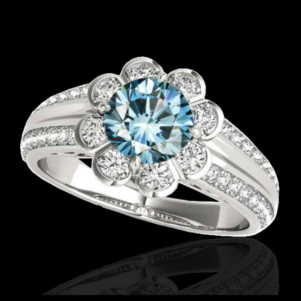 1.50 ctw SI Fancy Blue Diamond Solitaire Halo Ring 10K White Gold - REF-128N7A - SKU:34473
