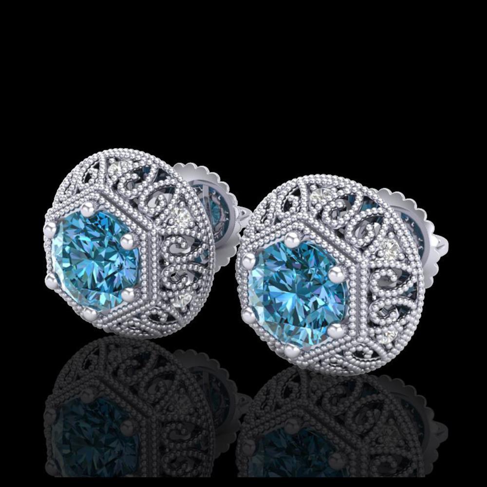 1.31 ctw Fancy Intense Blue Diamond Art Deco Earrings 18K White Gold - REF-149K3W - SKU:37558