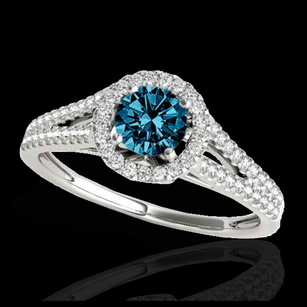 1.30 ctw SI Fancy Blue Diamond Solitaire Halo Ring 10K White Gold - REF-122K3W - SKU:33887