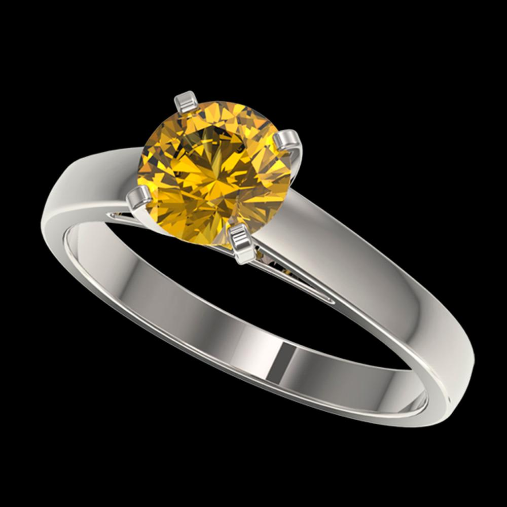 1.25 ctw Intense Yellow Diamond Solitaire Ring 10K White Gold - REF-255V2Y - SKU:33008