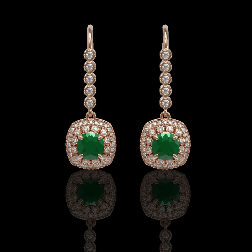 5.1 ctw Emerald & Diamond Earrings 14K Rose Gold - REF-144F4N - SKU:44049