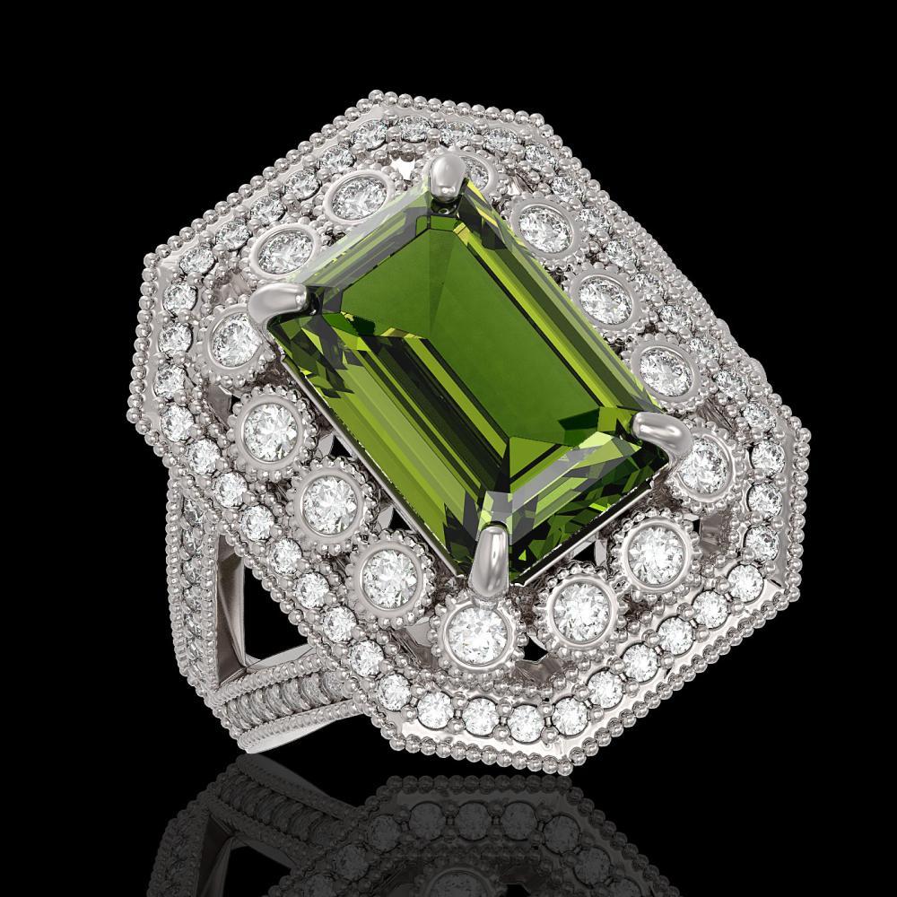 6.08 ctw Tourmaline & Diamond Ring 14K White Gold - REF-208V7Y - SKU:43382